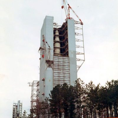 Saturn V Dynamic Test Stand is located at the George C. Marshall Space Flight Center in Huntsville, Alabama, It is also known as the Dynamic Structural Test Facility